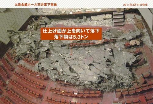 <b>事故の概要</b> 2011年3月11日に発生した東北地方太平洋沖地震で、東京都千代田区周辺は震度5強の揺れを観測した。地震発生時には九段会館ホール内で専門学校の卒業式が行われていた。式典中にステージに近いホール天井が崩落して2人が亡くなった(写真:九段会館ホール天井落下事故調査委員会)