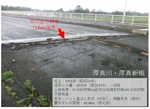 厚真新橋の路面。奥のPC桁と橋台背面の土工部に約12cmの段差が生じた(資料:北見工業大学・宮森保紀准教授)