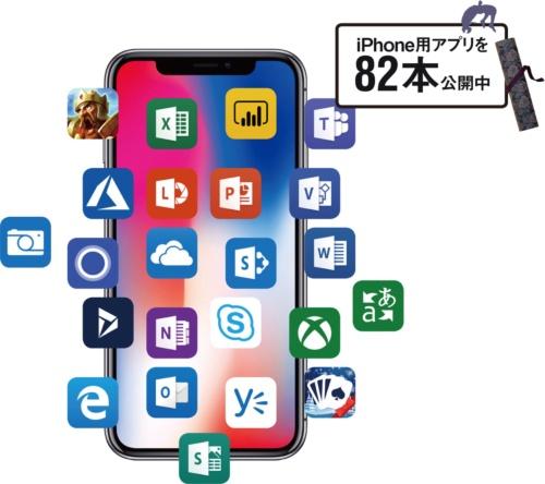 図 マイクロソフトが提供するiPhone用アプリの例