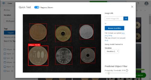 DetectionのAIで検出された6つの硬貨