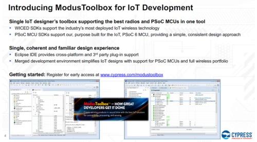 新しいIDE「ModusToolbox」の概要。Cypressのスライド