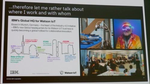 自己紹介を兼ねて「Watson IoT」を紹介。IBMのスライド