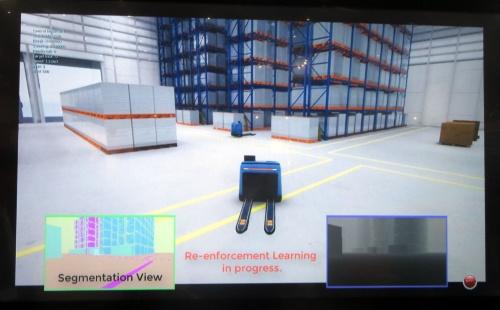 AirSimでAGVの走行をシミュレーションしている様子。