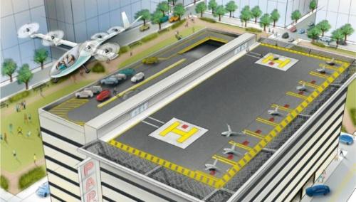 図1 空のライドシェアでは、ビルの屋上のような限られた場所でも離発着できるVTOL機の利用を前提にしている。
