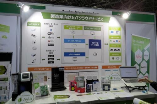 Ayla networksのIoTクラウドサービスと連携する電球、コーヒーメーカーなどが展示されている