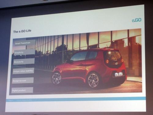 小型EV「e.GO Life」。スライドはe.GO Mobile
