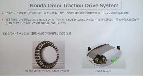 360度自由に移動できる車輪機構「Honda Omni Traction Drive System」