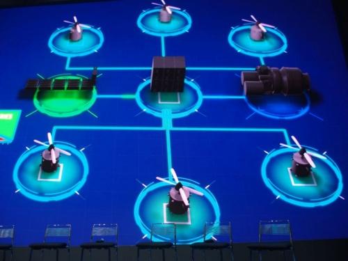 Safranが見せたBELL Nexusの電動推進系の概要。上下にあるのが、ローターを回転させる6つのモーター。右側にあるのがターボジェネレーター、左側にあるのが2次電池である。中央にあるのは、電力を融通する制御装置である。スライドはSafran(撮影:日経 xTECH)