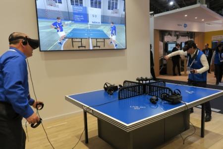 ノキアによる5G接続を使ったVR卓球のデモ