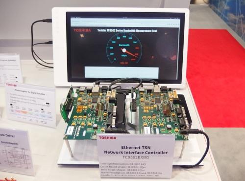 「TC9562」の伝送速度をアピール。実測した930Mビット/秒の帯域をメーターで表示している。日経 xTECHが撮影