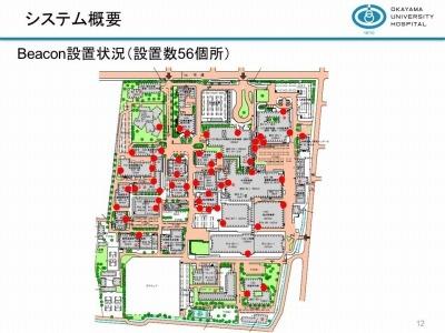 岡山大学病院でのビーコンの設置状況