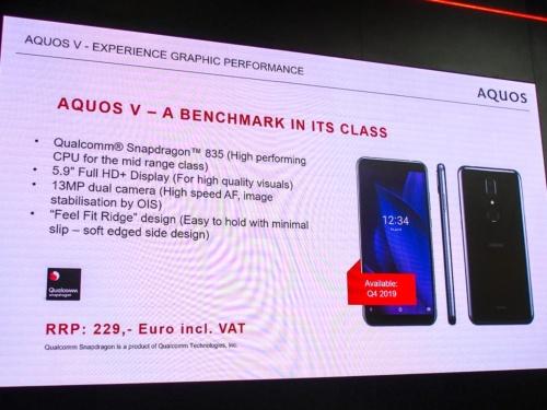 写真6●AQUOS VはSnapdragon 835搭載で229ユーロ