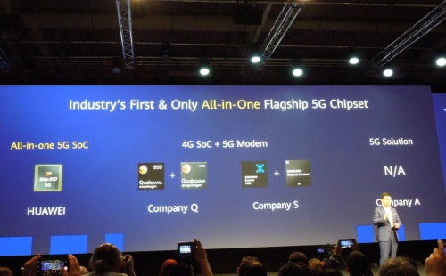 Yu氏は「業界初で唯一の5Gモデム内蔵SoC」であること強調した。「CompanyQ」「同S」「同A」は説明不要だろう