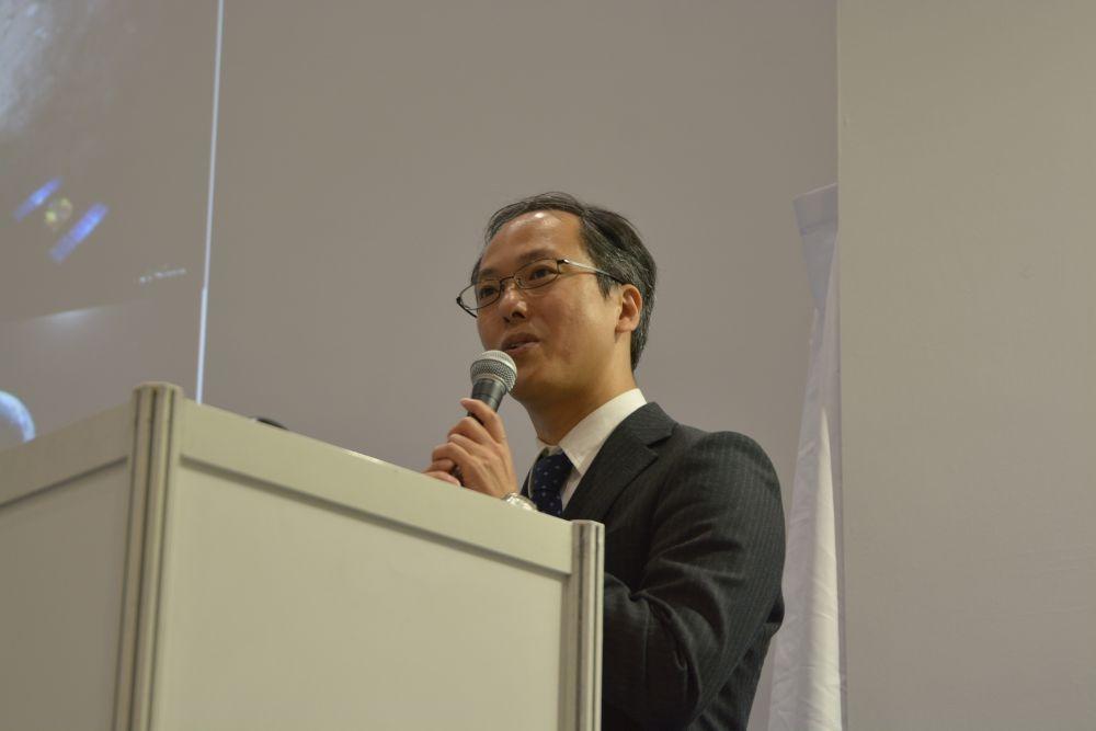 図1 JAXAのはやぶさ2プロジェクトでプロジェクトマネージャを務める津田雄一氏 「日経 xTECH EXPO 2019」のセミナーに講師として登壇した。(撮影:日経 xTECH)