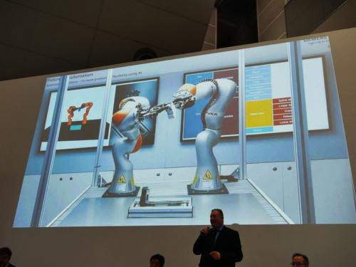 2台の協働ロボットがAI制御で強調するデモ