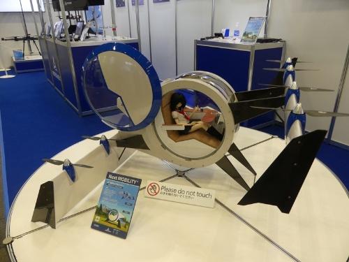 図1 エアロネクストが展示した電動垂直離着陸(eVTOL)機の試作機