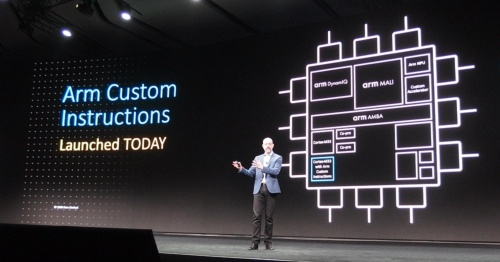 「Arm Custom Instructions」を発表するSimon Segars氏。日経 xTECHが撮影。後方はArmのスライド
