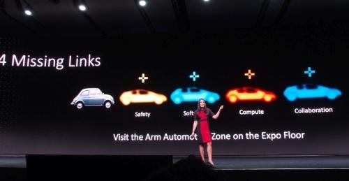 アームが示した、完全自動運転車の実用化に向けたミッシングリンク。安全、ソフトウエア、コンピューティング、協業の4つである(撮影:日経 xTECH)