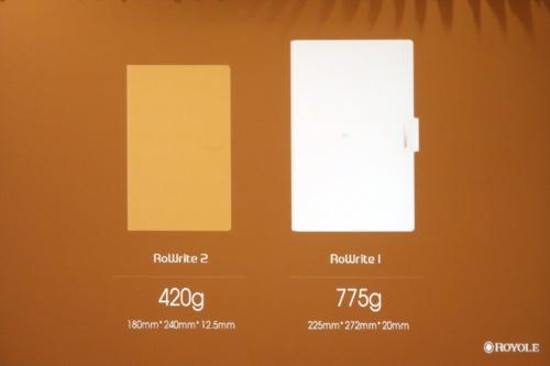 新製品(RoWrite 2)は、従来機種(RoWrite)に比べて小型軽量である。(ロヨルの資料を日経 xTECHが撮影)