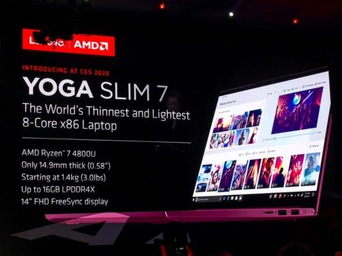 写真5●Ryzen 7 4800Uを搭載した中国レノボの「Yoga Slim 7」