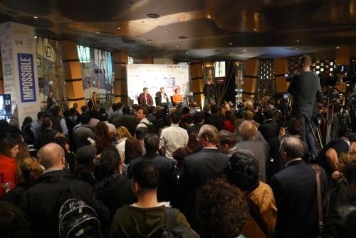 ラスベガスのホテル、マンダレイ・ベイ リゾート アンド カジノにある日本食レストラン「KUMI」で開催された報道向け発表会の様子