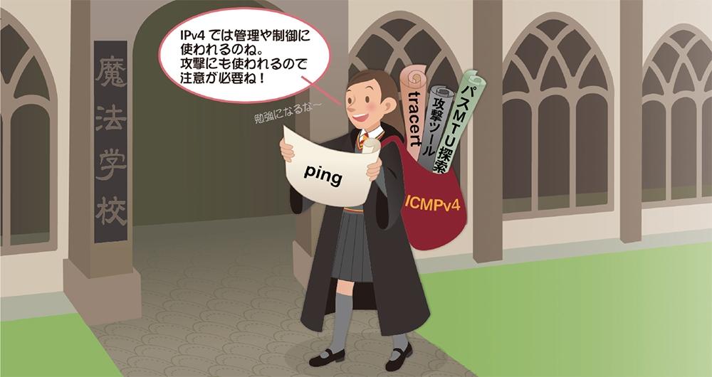 PICT1●ICMPv4はpingなどのコマンドに使われる (イラスト:なかがわ みさこ)