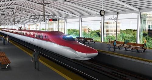 インドのムンバイ―アーメダバード間を結ぶ高速鉄道の完成イメージ。設計は日本コンサルタンツ・日本工営・オリエンタルコンサルタンツグローバルJV、一部区間の施工検討業務などを大林組、JFEエンジニアリング、IHIインフラシステム、鉄建建設が担当している(資料:JICA)