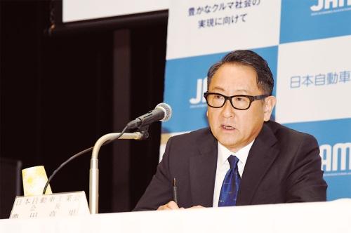 2020年3月19日の記者会見で語る日本自動車工業会会長の豊田章男氏(撮影:日経Automotive)