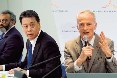 日産社長兼CEOの内田誠氏(左)とルノー会長のジャンドミニク・スナール氏(右)
