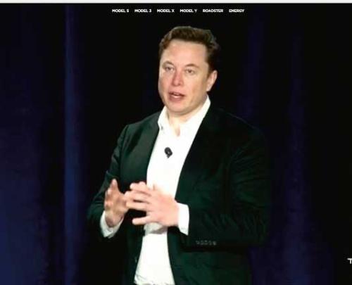 図1 自動運転機能に関する発表会に登壇したテスラ CEOのイーロン・マスク氏