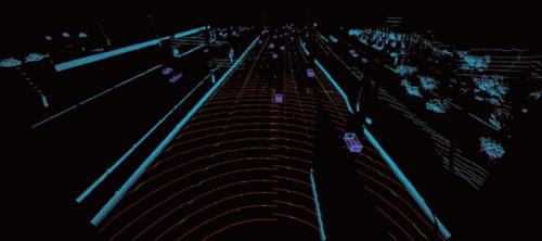 図1 LIDARで取得した高速道路のデータ