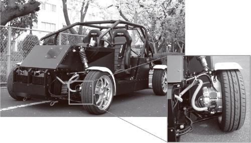 図2 イン・ホイール・モーターを搭載した試作車