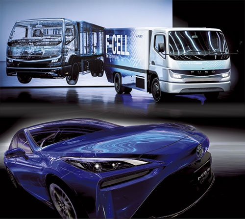 写真:トヨタ自動車、三菱ふそうトラック・バス