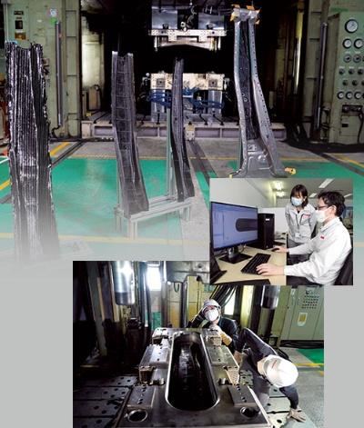 中央右の写真は部品の解析作業、下の写真は成形用金型