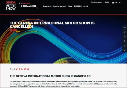 図1 ジュネーブモーターショー2020は開催直前に中止を決定