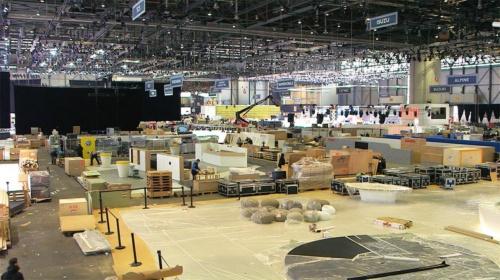 図2 準備が進められていたジュネーブモーターショー2020の会場の様子