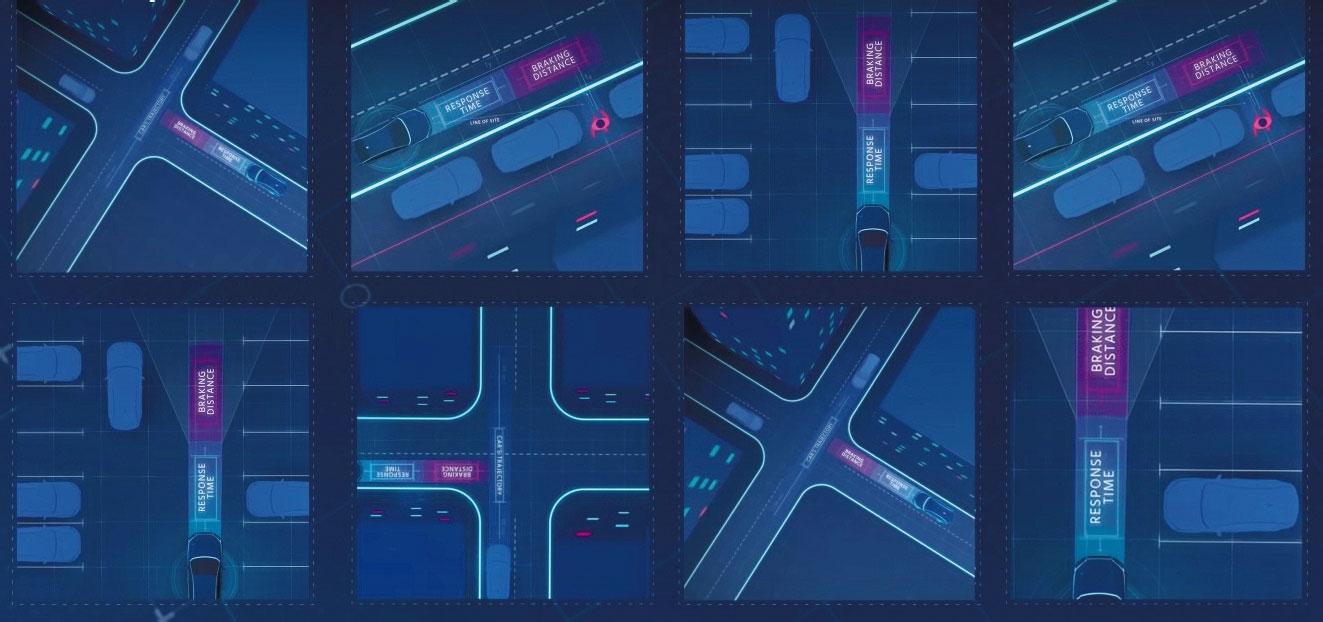 図1 安全のアルゴリズムを標準化 Mobileyeは、安全な自動運転ソフトにするための考え方を提案する。前後方向の距離や交差点における動作など多くの場面の制御方法を定式化し、標準化することを目指す。(出所:Mobileye)