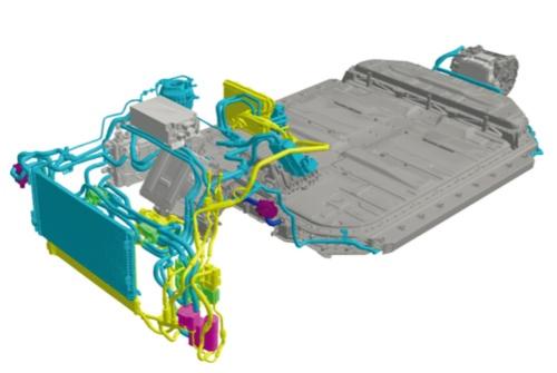 図2 アウディ「e-tron」の熱マネジメントシステムの全体像