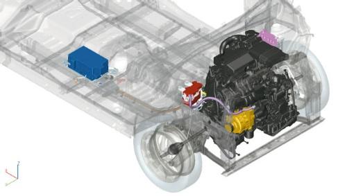 図1 日産自動車の軽ハイトワゴン「デイズ」MHEVモデルのハイブリッドシステム