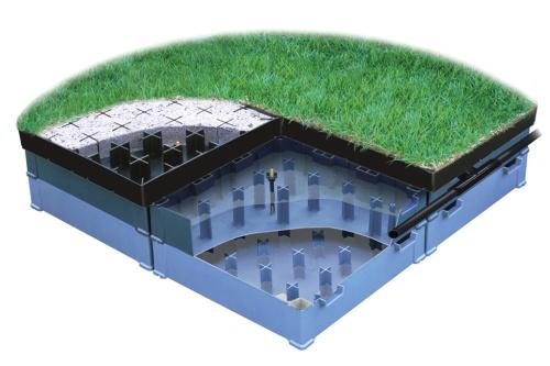 〔図1〕雨水流出抑制を屋上緑化と同時に