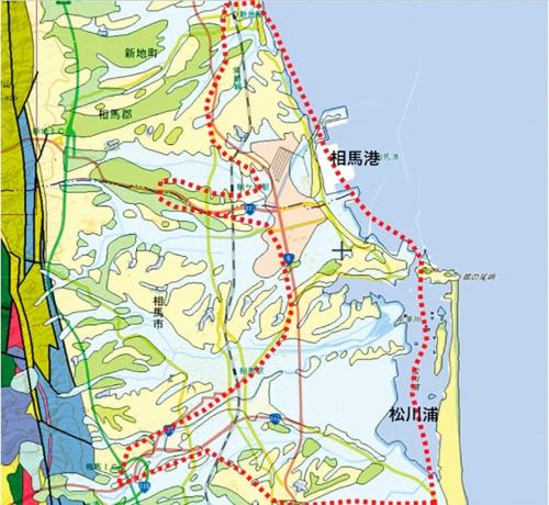 〔図1〕相馬市・新地町付近の地質構成