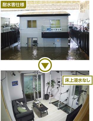 上の「耐水害仕様住宅」では、同じ時間が経過しても床上浸水はなかった(下)(写真:一条工務店)