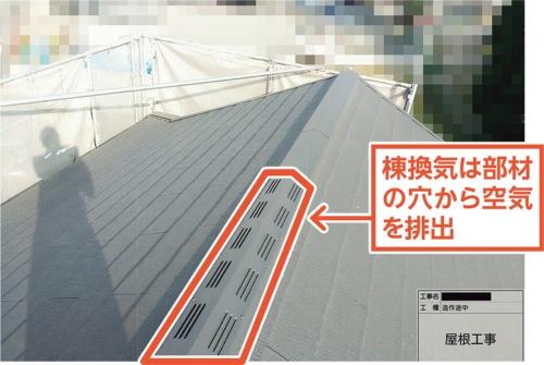 〔写真2〕棟換気の是正は屋根面から