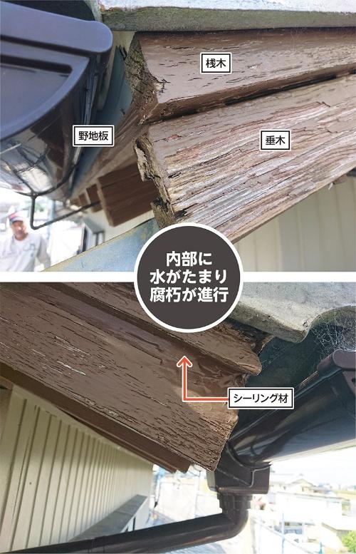 〔写真1〕上部から浸入した雨水が逃げ場を失う