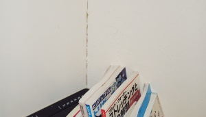 最も沈下した箇所の外壁に生じた室内のひび割れ(写真:日経ホームビルダー)