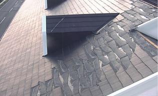 袖ケ浦市内に立つ築15年の住宅。化粧スレートが剥がれた箇所には、毛細管現象で水が吸い上げられた痕があった(写真:千葉県瓦工事業組合)