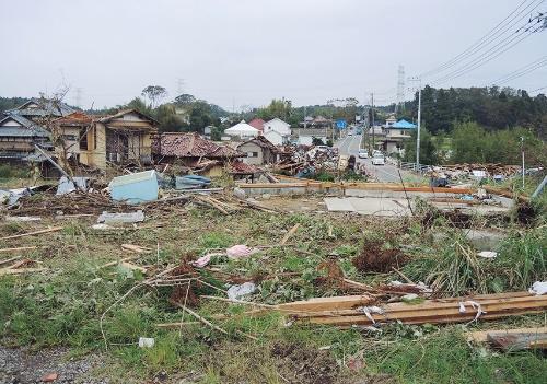 〔写真2〕下野地区に被害集中