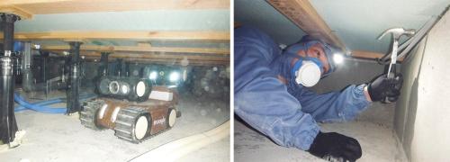 moogleで床下の全体像をつかみ(左)、調査員が目視などで確認する(右)(写真:グラウンド・ワークス)