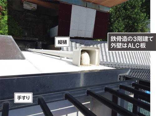 住宅の外壁にはALC板を採用し、屋上を陸屋根としていた。パラペットの天端に笠木を被せ、その上に手すりを立てていた(写真:神清)