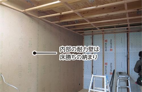 床勝ちで倍率の認定を得た構造用MDFによる間仕切り部分の耐力壁(写真:小泉木材)